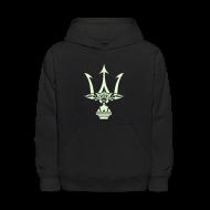 Sweatshirts ~ Kids' Hoodie ~ GLOW-IN-THE-DARK TRIDENT Hoodie - Poseidon - Kid Size Hoodie
