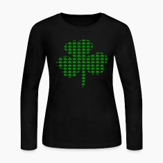 Black Tiny Shamrocks In Shape Of A Big Shamrock--DIGITAL DIRECT Long Sleeve Shirts