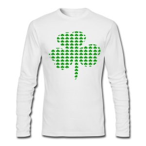 WUBT 'Tiny Shamrocks In Shape Of Big Shamrock--DIGITAL DIRECT', Men's LS AA Tee, Black - Men's Long Sleeve T-Shirt by Next Level