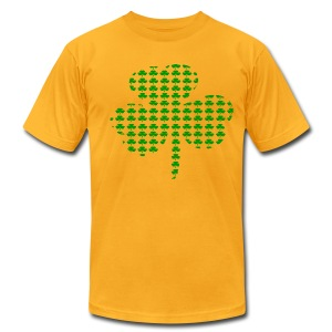WUBT 'Tiny Shamrocks In Shape Of Big Shamrock--DIGITAL DIRECT', Men's AA Tee, Gold - Men's T-Shirt by American Apparel