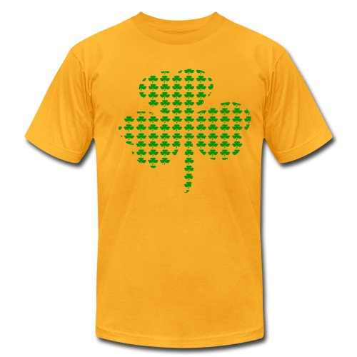 WUBT 'Tiny Shamrocks In Shape Of Big Shamrock--DIGITAL DIRECT', Men's AA Tee, Gold - Men's Fine Jersey T-Shirt
