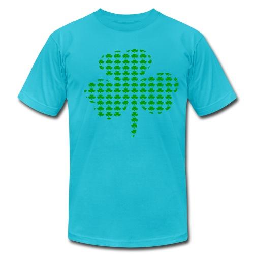 WUBT 'Tiny Shamrocks In Shape Of Big Shamrock--DIGITAL DIRECT', Men's AA Tee, Gold - Men's Fine Jersey T-Shirt