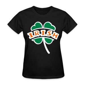 WUBT 'Irish Arc Cut Out Of 4-Leaf Clover, Outline', Women's Standard Tee, Black - Women's T-Shirt