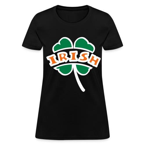 WUBT 'Irish Arc Cut Out Of 4-Leaf Clover, Outline', Women's Standard Tee, Black - Women's T-Shirt