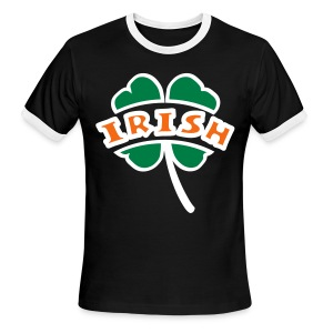 WUBT 'Irish Arc Cut Out Of 4-Leaf Clover, Outline', Men's Ringer Tee, Black, White - Men's Ringer T-Shirt
