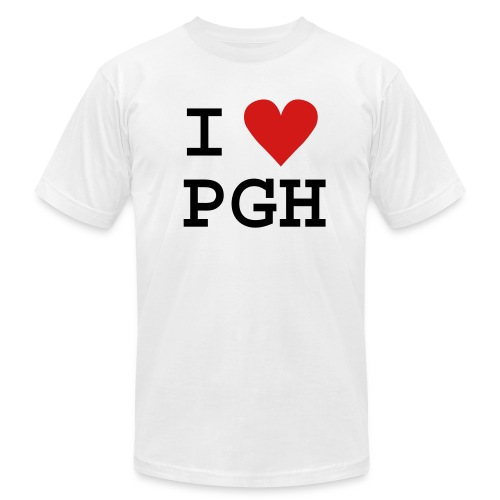 I heart PGH Men's American Apparel T-shirt Red Heart   - Men's  Jersey T-Shirt
