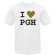 T-Shirts ~ Men's T-Shirt by American Apparel ~ I heart PGH Men's American Apparel T-shirt Metallic Gold Heart