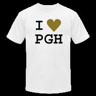 T-Shirts ~ Men's T-Shirt by American Apparel ~ I heart PGH Men's American Apparel T-shirt Metallic Gold Heart