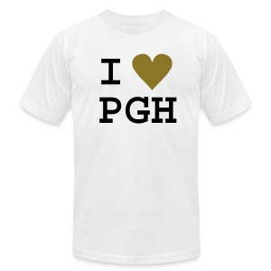 I heart PGH Men's American Apparel T-shirt Metallic Gold Heart   - Men's T-Shirt by American Apparel