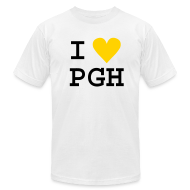 T-Shirts ~ Men's T-Shirt by American Apparel ~ I heart PGH Men's American Apparel T-shirt Yellow Gold Heart