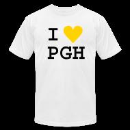 T-Shirts ~ Men's T-Shirt by American Apparel ~ I heart PGH Men's American Apparel T-shirt Yellow Gold Heart