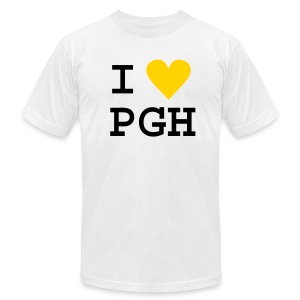 I heart PGH Men's American Apparel T-shirt Yellow Gold Heart   - Men's T-Shirt by American Apparel