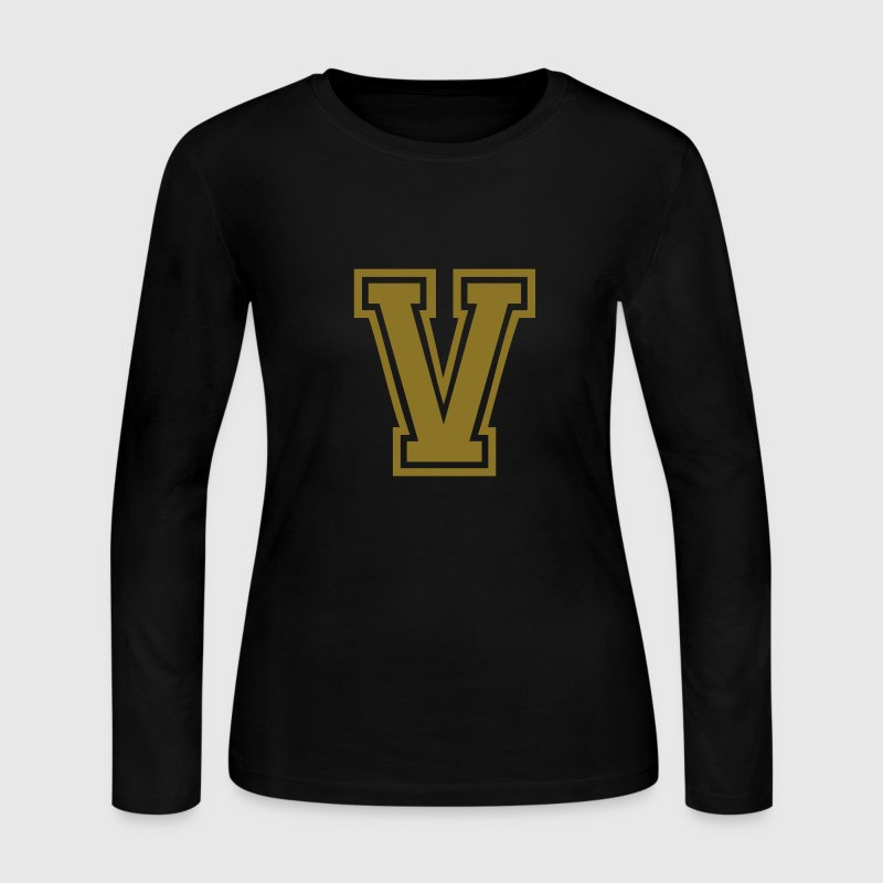 Chocolate Letter V Long Sleeve Shirts - Women's Long Sleeve Jersey T-Shirt