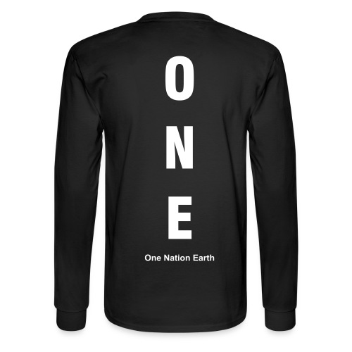One Nation Earth - Heavyweight Cotton Long Sleeve Tee by Hanes (back) - Men's Long Sleeve T-Shirt