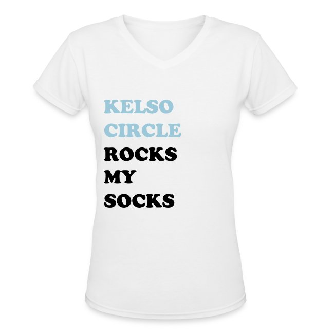 Kelso Circle Rocks My Socks Women's V-Neck White