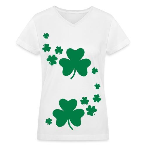 Multi Shamrock - V-neck, Women's - Women's V-Neck T-Shirt