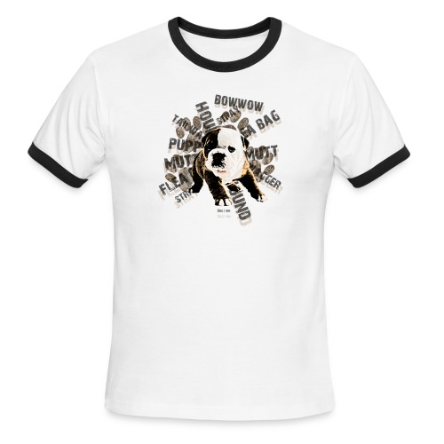Cool shirt with a Dog on it that has a whole bunch of words revolving the dog. - Men's Ringer T-Shirt