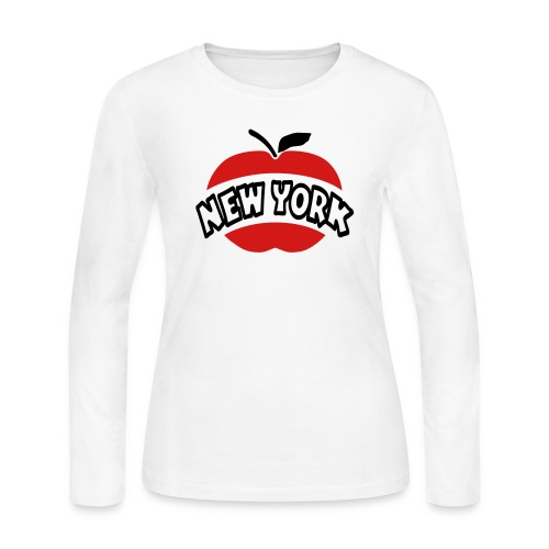 WUBT 'New York Arc Cutout Big Apple' Women's LS Jersey Tee, White - Women's Long Sleeve Jersey T-Shirt