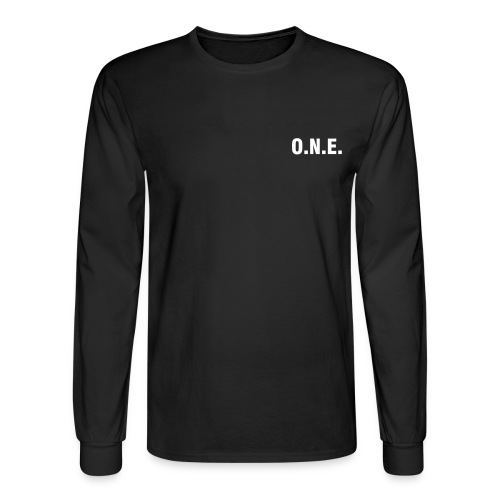 One Nation Earth - Heavyweight Cotton Long Sleeve Tee by Hanes (front & back) - Men's Long Sleeve T-Shirt