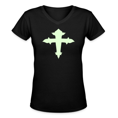 Black cool fancy cross with an arc Women's T-Shirts