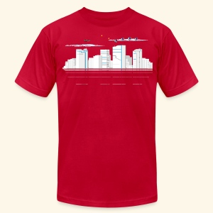 pixelSkyline - Men's T-Shirt by American Apparel