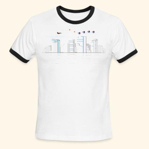 pixelSkyline - Men's Ringer T-Shirt