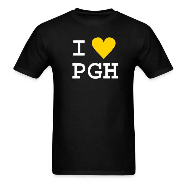 "Black (or you choose the shirt color) White Text w/Gold Heart ""I heart PGH"" Light Weight Cotton T-shirt"