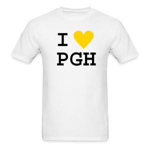 White (or you choose the shirt color) Black Text w/Gold Heart I heart PGH T-shirt - light weight cotton - Men's T-Shirt