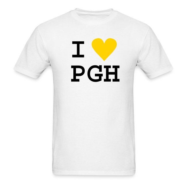"White (or you choose the shirt color) Black Text w/Gold Heart ""I heart PGH"" T-shirt - light weight cotton"