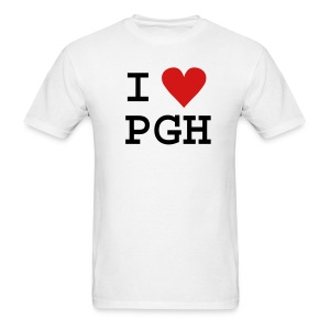 Black (or you choose the shirt color) Black Text and Red Heart I heart PGH T-shirt - light weight cotton - Men's T-Shirt