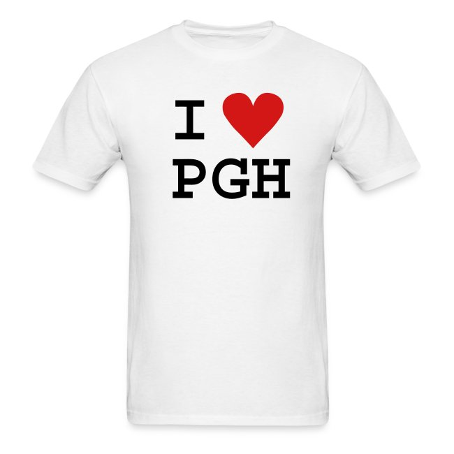 """Black (or you choose the shirt color) Black Text and Red Heart """"I heart PGH"""" T-shirt - light weight cotton"""