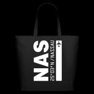 Bags & backpacks ~ Eco-Friendly Cotton Tote ~ Nassau airport code Bahamas  NAS black tote beach bag
