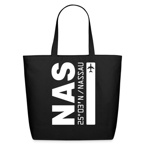 Nassau airport code Bahamas  NAS black tote beach bag - Eco-Friendly Cotton Tote