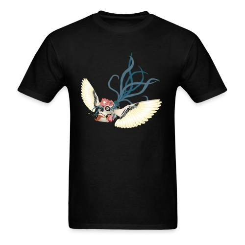 Flying Skull N Flowers - Men's T-Shirt