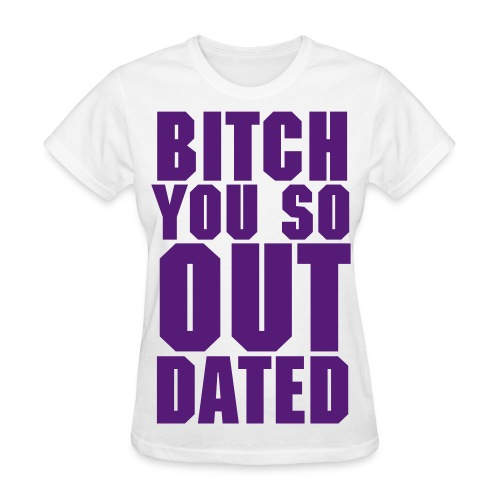 Womens Outdated Tee - White/Purple - Women's T-Shirt