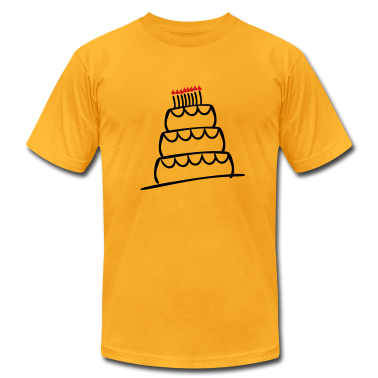 Gold Funky 3-Layer Birthday Cake With Candles And Flames  T-Shirts