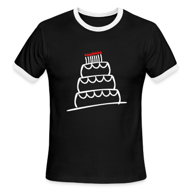 Black/white Funky 3-Layer Birthday Cake With Candles And Flames  T-Shirts