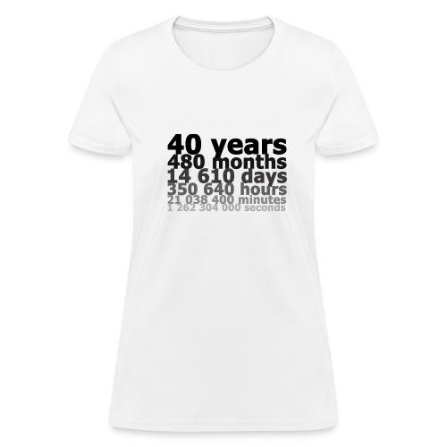 40 years, 1 262 304 000 seconds - Women's T-Shirt
