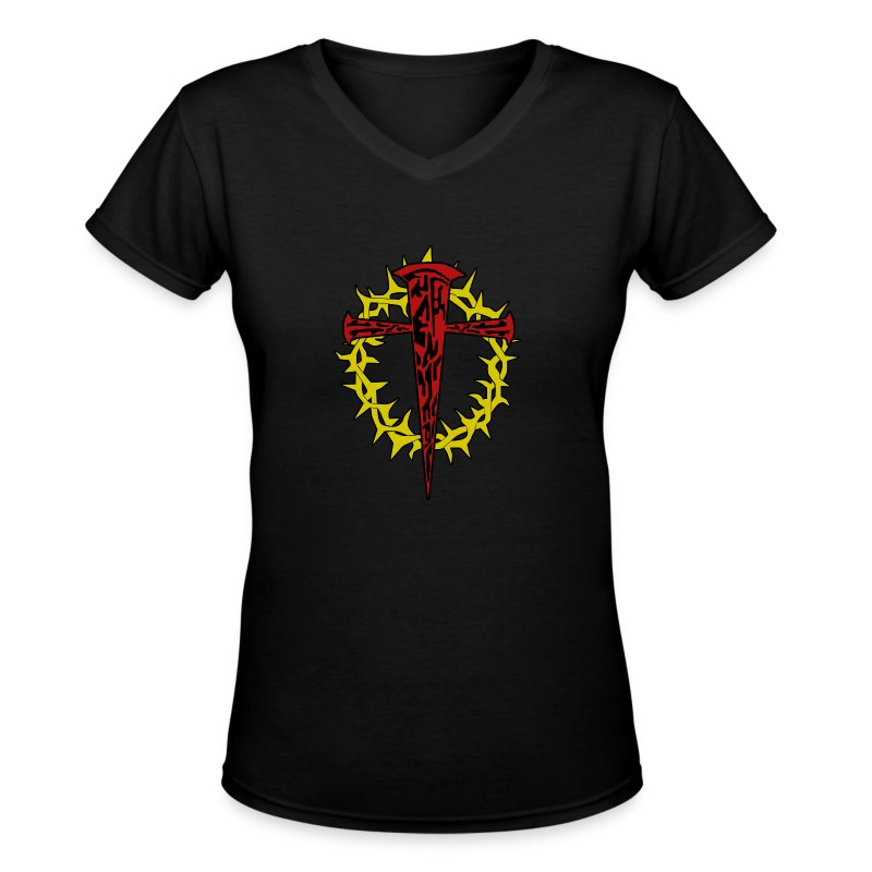 nails_and_thorns_color - Women's V-Neck T-Shirt