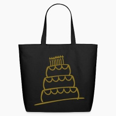 Black Funky 3-Layer Birthday Cake With Candles And Flames  Bags