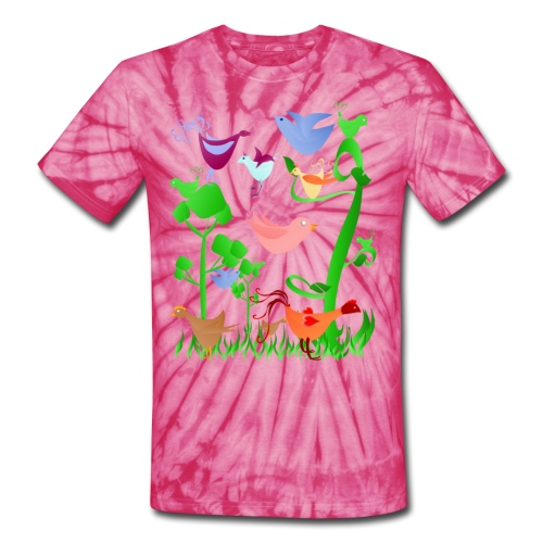 Spring Birds - Unisex Tie Dye T-Shirt