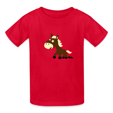 Red Pony (3c) Kids' Shirts