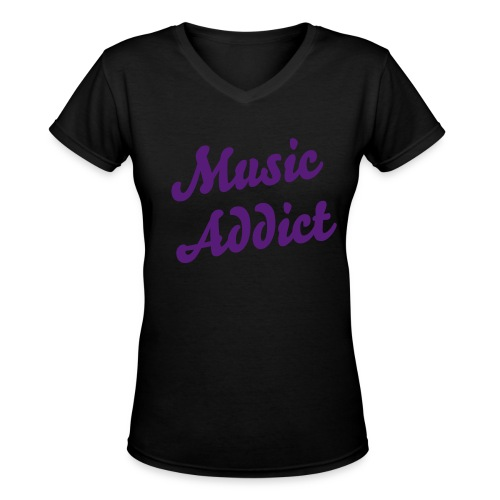 Music Addict - Women's V-Neck T-Shirt