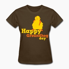 Brown happy groundhog day Women's T-Shirts