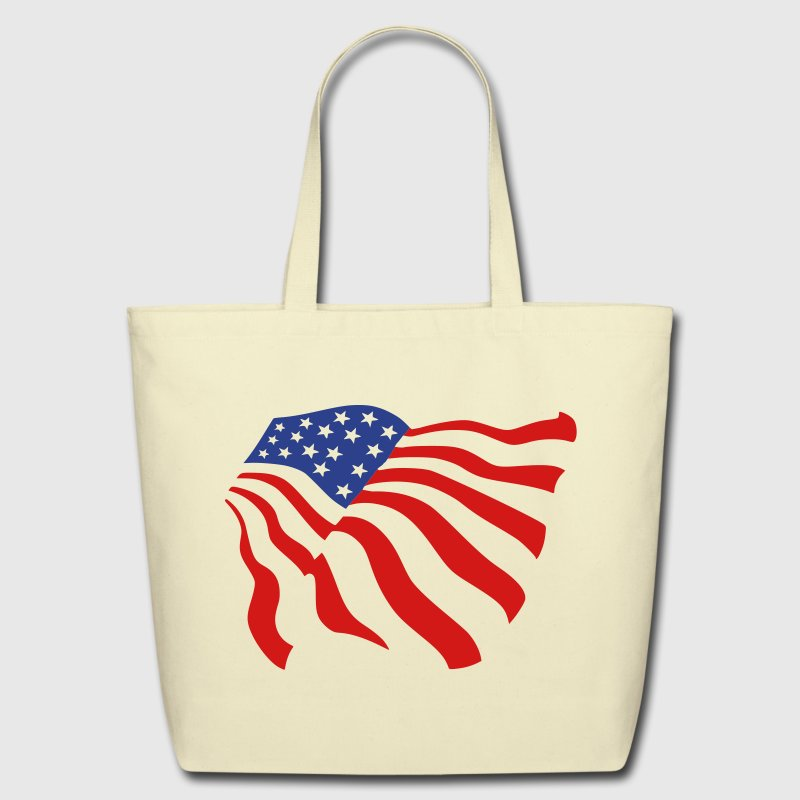 Creme american flag Bags  - Eco-Friendly Cotton Tote