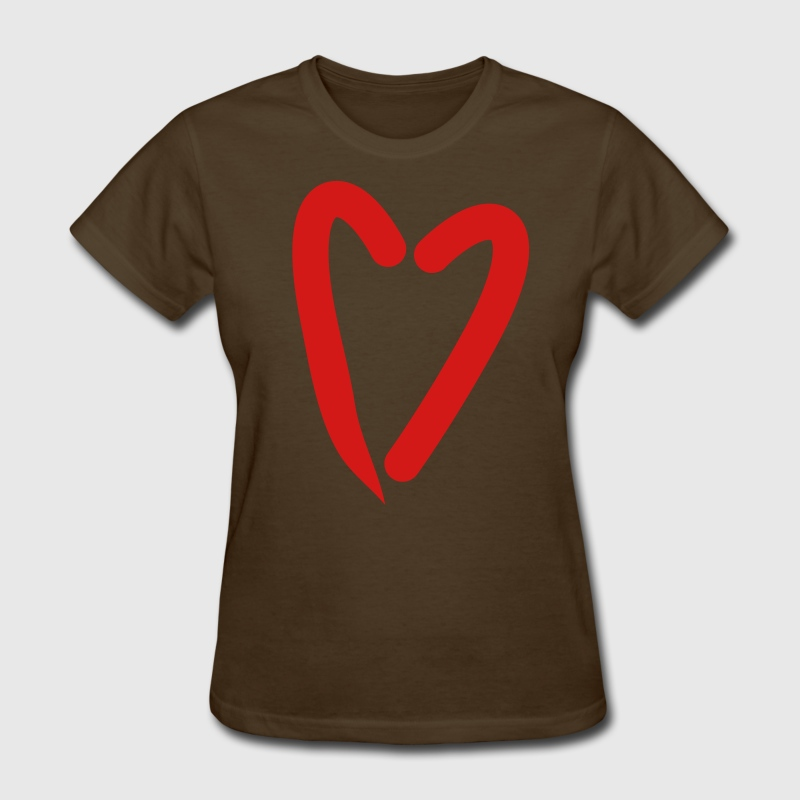 Brown funky as trendy red heart Women's T-Shirts - Women's T-Shirt