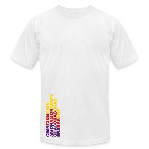 CINNAMON CHASERS (Rainbow Logo) Mens White - Men's Fine Jersey T-Shirt