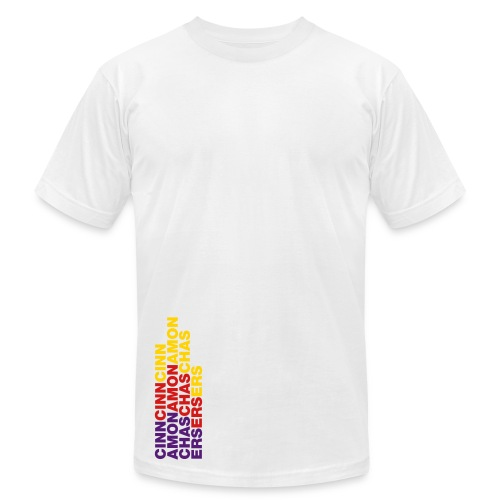CINNAMON CHASERS (Rainbow Logo) Mens White - Men's Fine Jersey T-Shirt