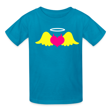 Turquoise love heart with devil horns and wings evil Kids' Shirts