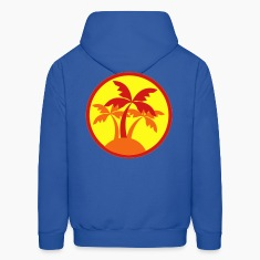 Royal blue palm trees in a circle travel island on a beach ! Hoodies